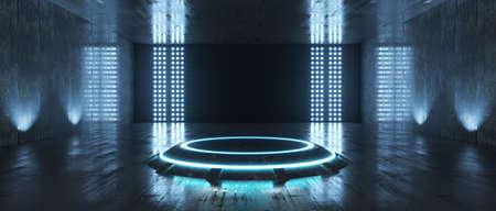 Futuristic Sci Fi Empty Stage neon. 3d rendering 版權商用圖片