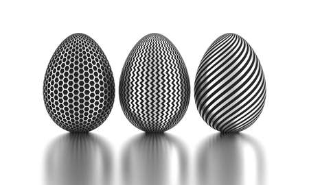 Three silver painted easter eggs. 3D rendering