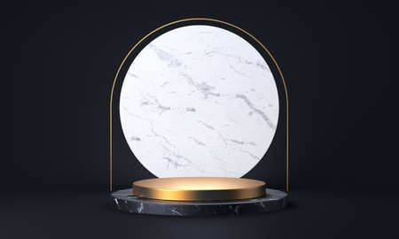 Black marble and gold product stand. Abstract empty stage or pedestal 3D rendering 版權商用圖片