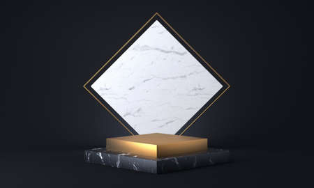 Cubic marble and golden pedestal. 3D rendering