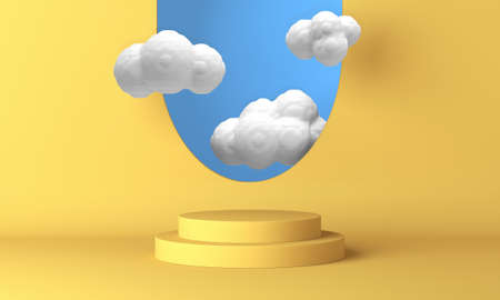 Yellow podium with white clouds flying through the window. 3d rendering 版權商用圖片