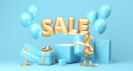 Sale banner on blue background. Sale word, balloons, credit card, shopping bag, gift boxes laying around. 3d rendering 版權商用圖片