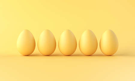 A row of eggs eggs on yellow background. 3d rendering