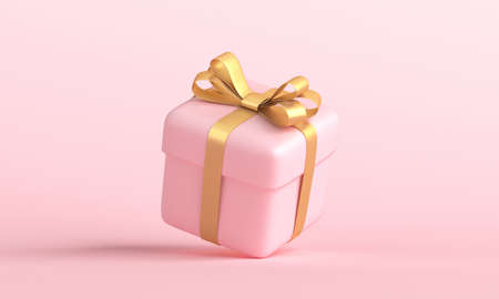 Pink gift box with golden ribbon bow levitating on pastel pink background. 3d rendering
