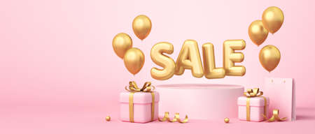 Sale banner on pink background. Sale word, balloons, shopping bag, gift boxes, golden ribbon elements laying around. 3d rendering