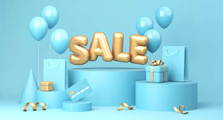 Sale banner on blue background. Sale word, balloons, credit card, shopping bags, gift boxe laying around. 3d rendering