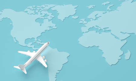 Traveling around the world by plane. 3d rendering 版權商用圖片