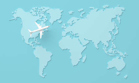 Travel World map background with plane. 3d rendering