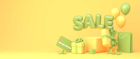 Great discount banner design with green SALE balloon phrase on yellow background with gift boxes, shopping bag and some shopping related elements. 3d rendering