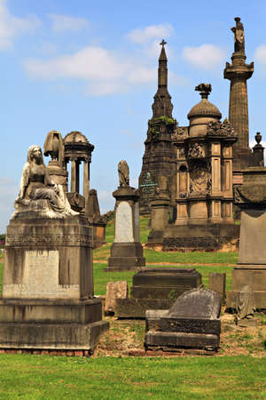 necropolis: Graves at the cemetery in Glasgow, Scotland