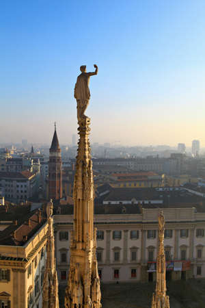 at milan: Roof of the famous Milan Cathedral  Milan, Italy