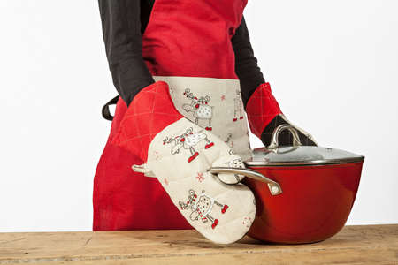 christmas dish: Kitchen concept - apron,gloves, Christmas dish  Stock Photo