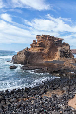golfo: El Golfo - beautiful cliffs and lagoon in Lanzarote, Canary Islands, Spain.
