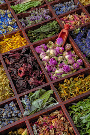 medical herbs: Assortment of dry herbs tea in a wooden box. Stock Photo