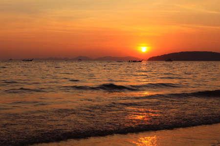 aonang: Aonang beach in the evening at sunset Krabi Thailand. Stock Photo