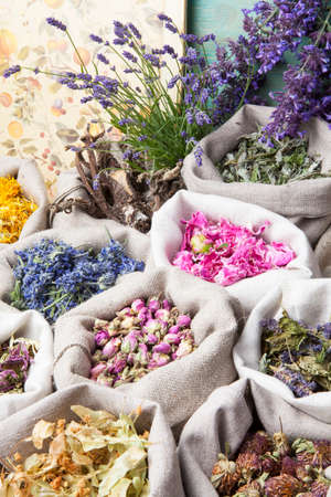 medicated: Healing medical herbs in a linen sacks.