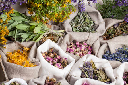 Healing medical herbs in a linen sacks.