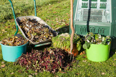 Organic compost, compost bin, waste, mulch in a autumn garden.