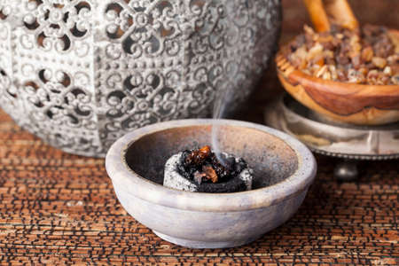 Myrrh is an aromatic resin, used for religious rites, incense and perfumes Stock Photo
