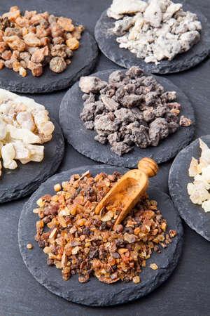 Various kinds of incense: myrrh, frankincense, messer, copaiba,elemi camonya Stock fotó