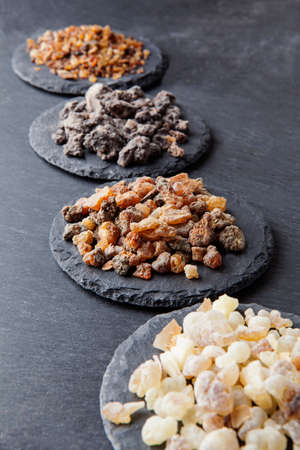 Various kinds of incense: myrrh, frankincense, messer, copaiba,elemi camonya