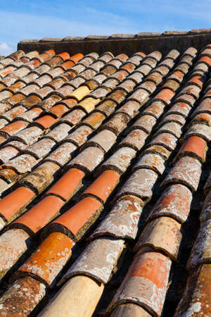 Old tiled roof. Tossa del Mar, Catalonia, Spain.