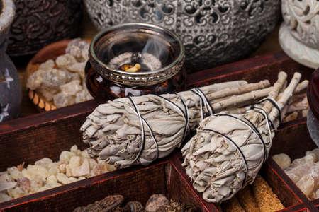 Incense of Salvia Apiana (White sage, sacred sage, bee sage, california sage) and various kinds of incense: myrrh, frankincense, gowe, palo santo.