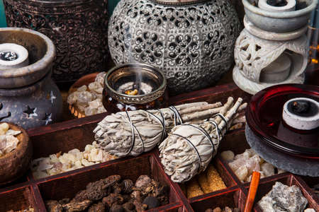 rites: Incense of Salvia Apiana (White sage, sacred sage, bee sage, california sage) and various kinds of incense: myrrh, frankincense, gowe, palo santo.