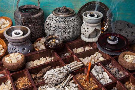 Various kinds of popular incense : myrrh, frankincense, messer, copaiba, salvia apiana, borena, gowe - thiouraye, palo santo