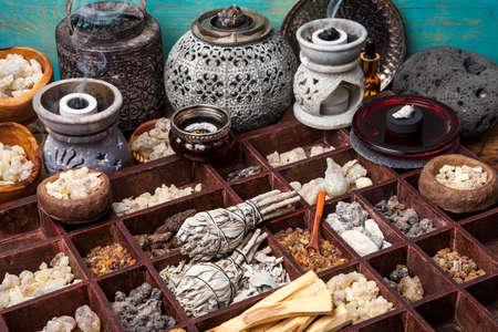 Various kinds of popular incense : myrrh, frankincense, messer, copaiba, salvia apiana, borena, gowe  - thiouraye, palo santo Stock Photo