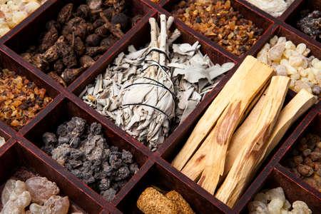 Various kinds of popular incense : myrrh, frankincense, messer, copaiba, salvia apiana, borena, gowe - thiouraye, palo santo Stock fotó