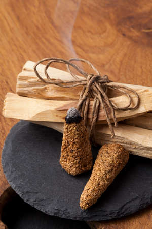 Bursera graveolens, known in Spanish as Palo Santo (holy wood) is a wild tree from Latin America. It is used for crafting objects and to produce burning sticks and incense
