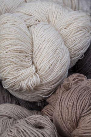 Handmade wool yarn in a street market Stock Photo