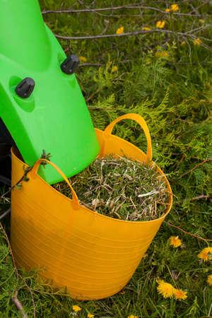 Electric garden shredder in a spring garden