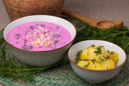 伝統的なリトアニアの冷たいビートピンクのスープ、キュウリ、ビートルート、卵、サワークリームを用意し、ソルティバルシアと呼ばれる