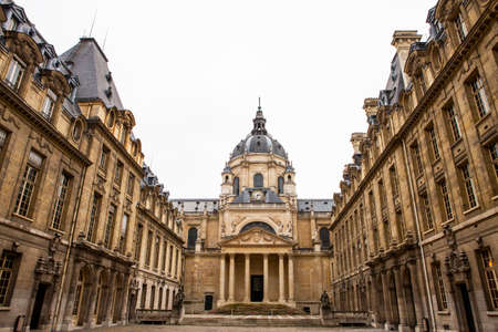 PARIS, FRANCE - JULY 10, 2014: The University of Paris ( Universite de Paris ), Sorbonne university, famous university in Paris, founded by Robert de Sorbon (1257) - one of first colleges in Europe. Éditoriale