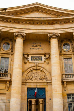 PARIS, FRANCE - JULY 10, 2014: The University of Paris, Sorbonne university, famous university in Paris, founded by Robert de Sorbon (1257) - one of first colleges in Europe. Faculty of Law.