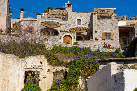 Traditional houses and old buildings at the village of Anatoli, Crete