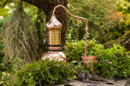 Alembic is a distilling apparatus of Arabic origin which may be used to distill essential oils and a variety of alcoholic beverages. Reklamní fotografie