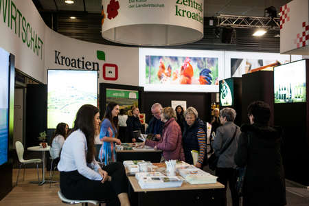 Berlin/Germany-January 22, 2020: Exposition Stands on International Green Week (