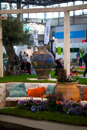 Leipzig,Germany-February 19, 2020 Haus-Garten-Freizeit is an exhibition displaying the latest trends of home, garden and leisure products. It took place in Leipzig, February 19.
