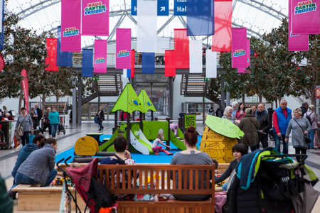 Leipzig,Germany-February 19, 2020 Haus-Garten-Freizeit is an exhibition displaying the latest trends of home, garden and leisure products. Children's playground in the exhibition center.