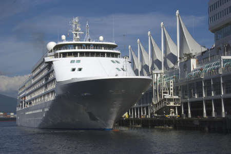 A cruise ship is moored at Canada Place