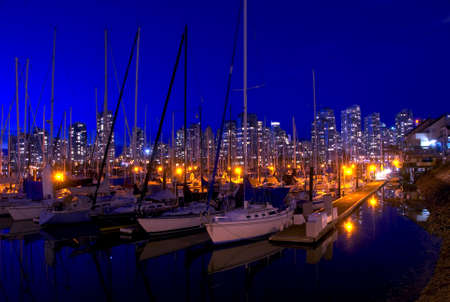 Vancouver Marina.  False Creek Marina during a beautiful fall evening in Vancouver, British Columbia. Stock Photo