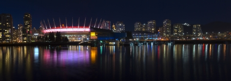 Vancouver skyline during a fine evening on a spring night.