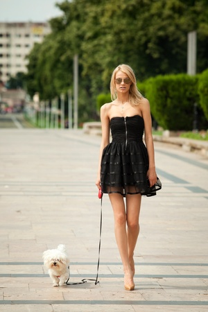 young fashion woman, walking her dog in the park Stock Photo - 12295536