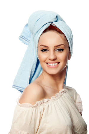 red head woman: portrait of a beautiful young red head woman after bath, isolated on white background Stock Photo