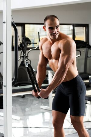 bodybuilder training: young bodybuilder training in the gym - cable rope triceps extension