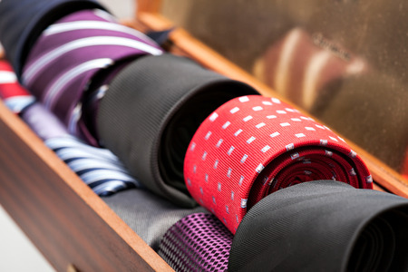 neck tie: Display of different patterns of man ties in a shop