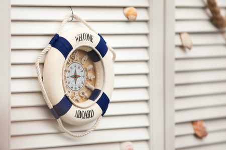 aboard: Background nautical image of a welcome aboard sign
